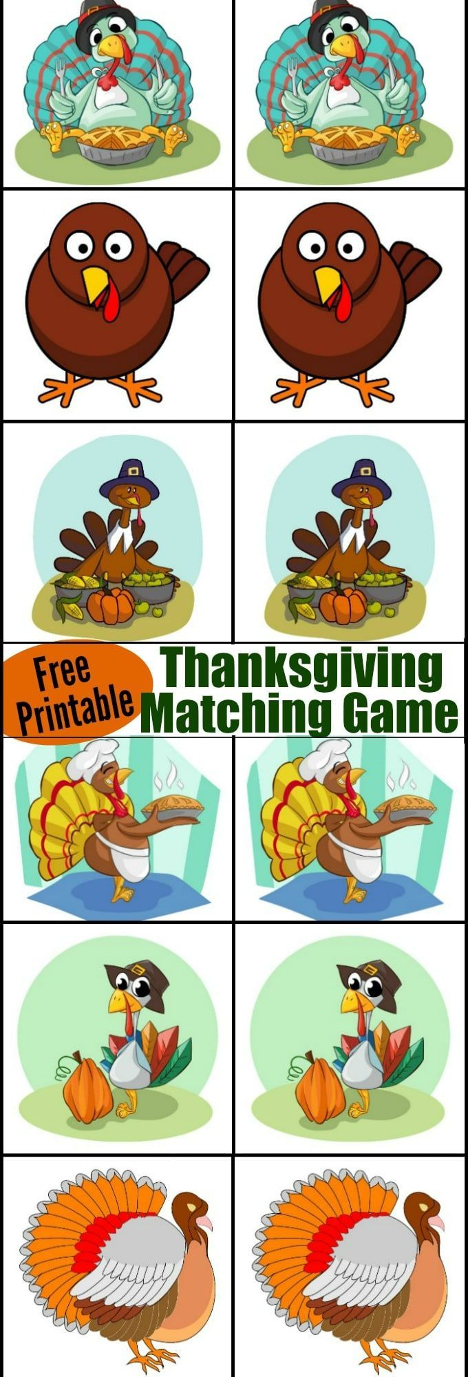 Thanksgiving matching game | Matching games, Thanksgiving and Free ...