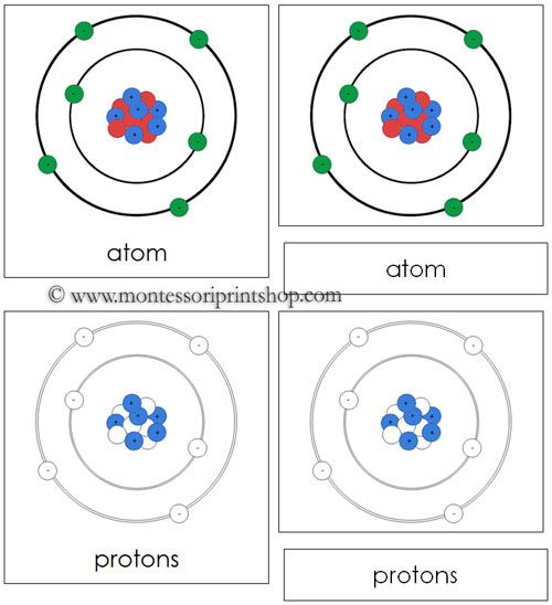 Atom Nomenclature Cards 7 Parts of the Atom in 3-Part Cards