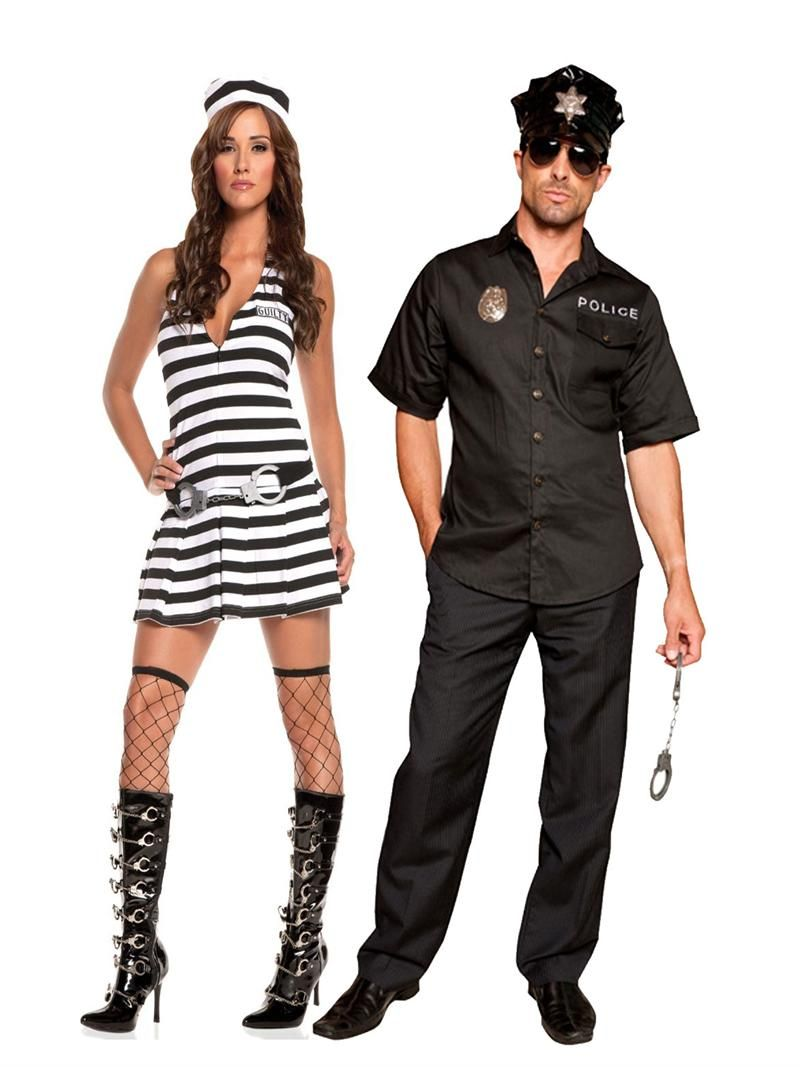 Adult Police Officer Cop Ladies Mens Couples Fancy Dress Costume Womens Outfit