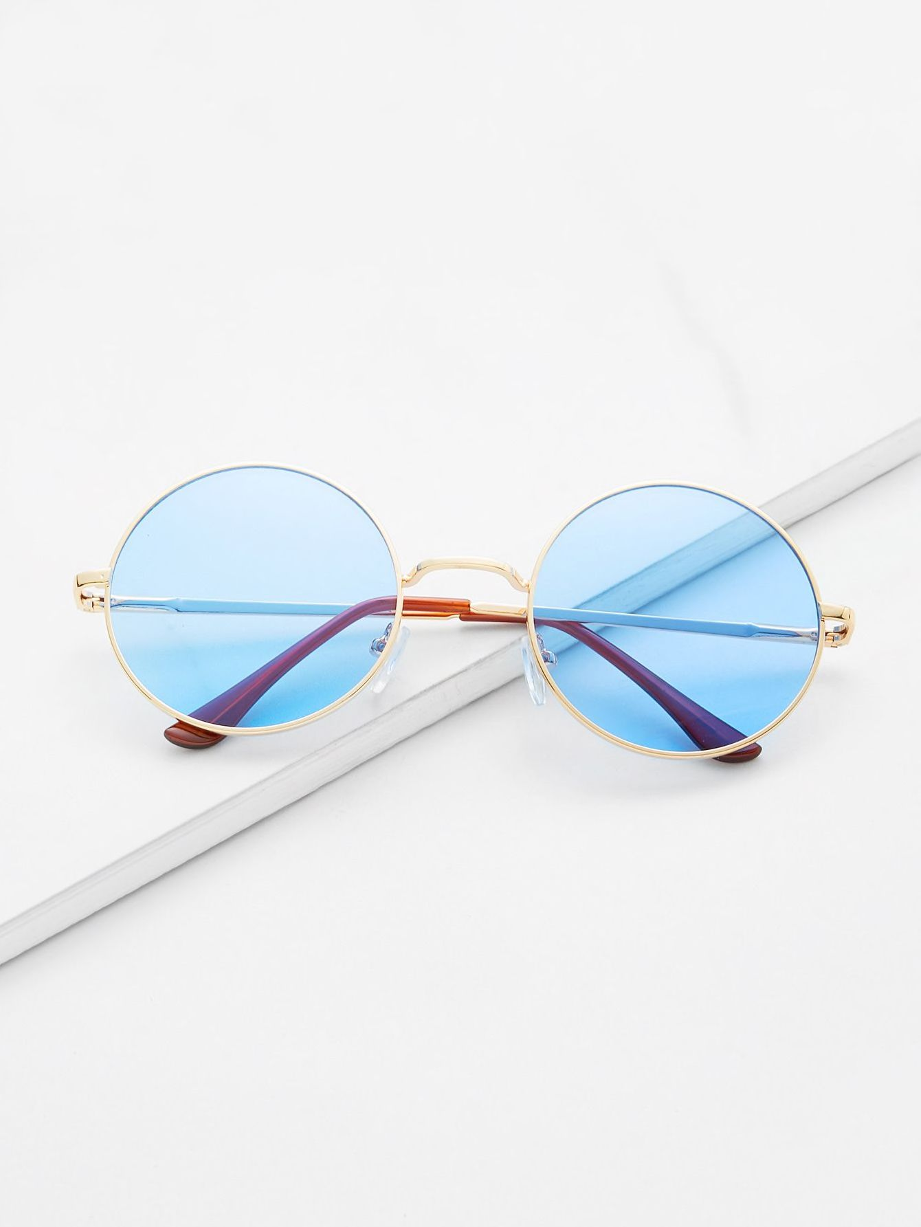 fd74299579 Gold Frame Light Blue Retro Style Round Sunglasses Check out this Gold Frame  Light Blue Retro Style Round Sunglasses on Shein and explore more to meet  your ...