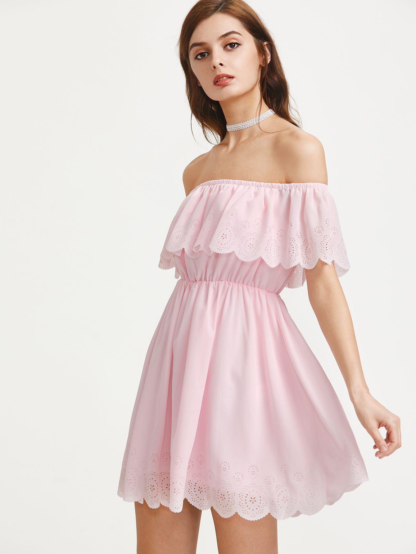 Scallop edge laser cut flounce bardot dress shops dresses and cats