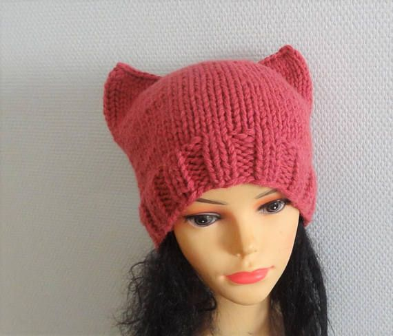 Pink Cat hat Chunky beanie Knit hat Animals Hat cat ears hat | Pinterest