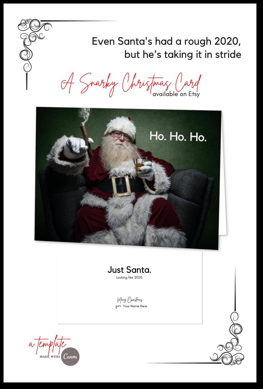 Funny Christmas Card Template Santa Greeting Card 5x7 Etsy Funny Christmas Cards Christmas Card Template Christmas Humor