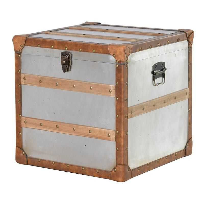 Mulberry Moon Square Metal Storage Trunk With Wood Trim. Square Metal Trunk  With Wooden Lats Silver Body With Vintage Leather Studded Trim.