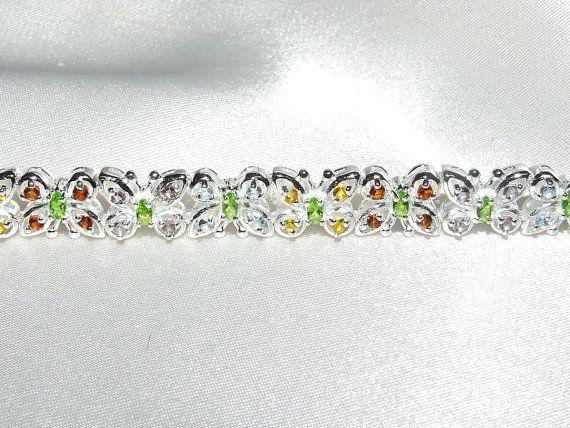 Vintage MultiGemstone Butterfly Bracelet by InVogueJewelry on Etsy, $69.00