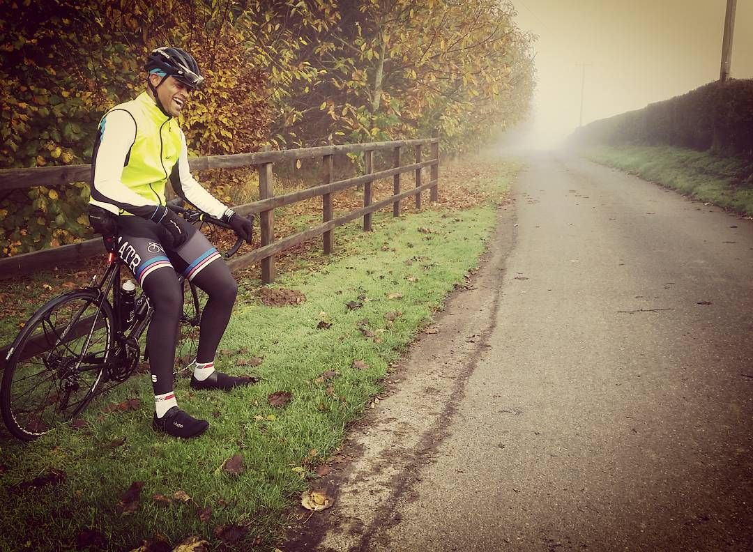 Sharing a joke at a rest stop on a chilly & very foggy 70km #Sundayride.  Autumn calm & colours in full effect. If you're riding today - #ridehappy! #AATR #allabouttheride #cycling #Sundayride #socialride #roadbikes #roadcycling #lovecycling #Autumn #foggy #fromwhereiride
