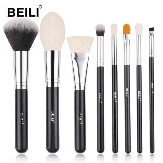 Professionelles schwarzes Make-up Ziegenhaarbürsten-Set – B8-02-01 / China