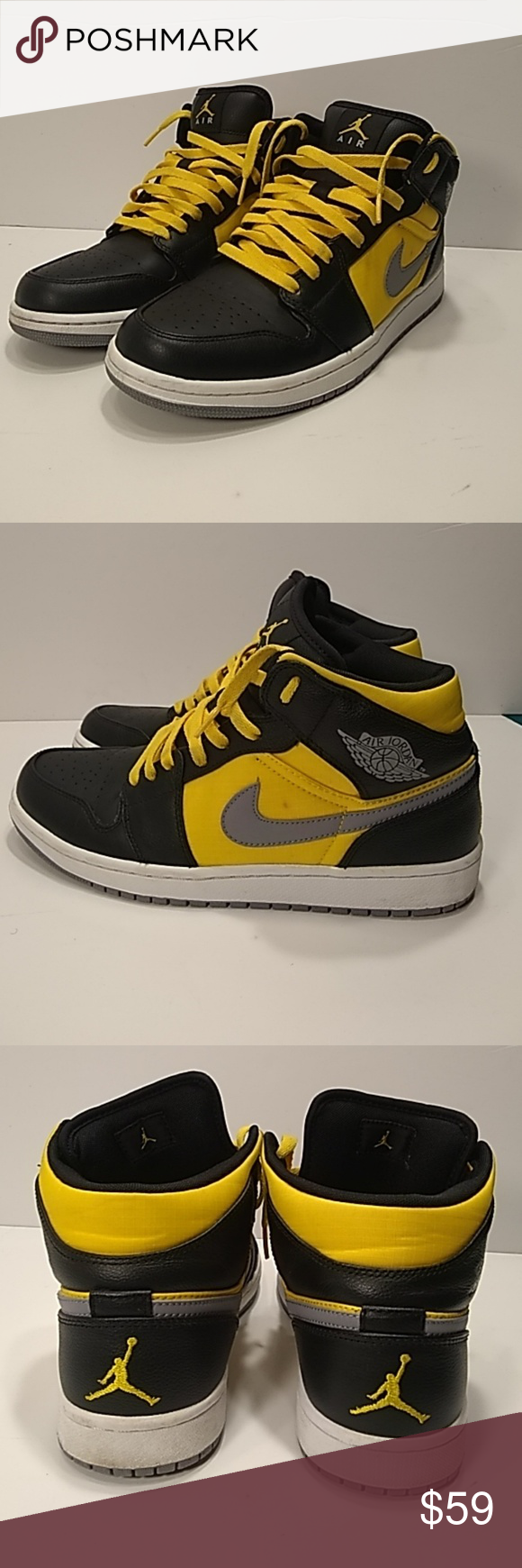 Air Jordan 1 PHAT Black Yellow Mid Sz. 9.5 Air Jordan 1 Phat 364770-50.  Black Stealth 1570a92369a6