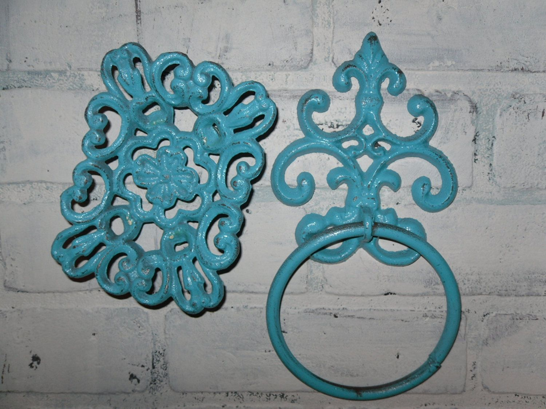 Shabby Chic Bathroom Towel Ring and Soap Dish Combo/ Aqua Blue ...