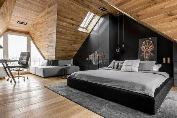 Bedroom Ultimate Bachelor Pad With Wood Plank Ceiling