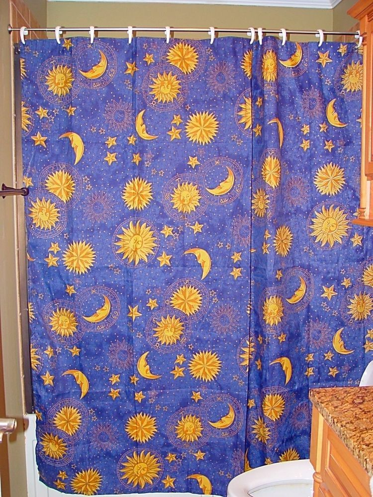 Navy Blue Gold Sun Moon Stars Celestial Fabric Shower Curtain Fabric Shower Curtains Gold Sun Sun Moon Stars