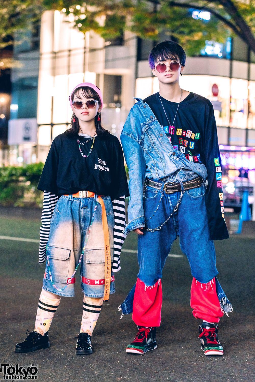 Harajuku Duo in Vintage Denim Japanese Street Styles w/ O.Well Kitakoshigaya, LH…