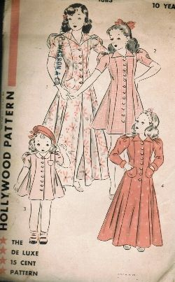 Vintage Fashion Library - Vintage 40s Princess Seam Button Front Robe Dressing Gown Dress Sewing Pattern Hollywood 1383 Size 10