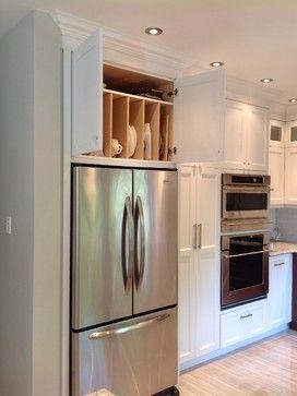 Kitchen Concealed Counter Storage Kitchen Design Ideas Pictures Remodel And Decor Farmhouse Kitchen Remodel Built In Refrigerator Cabinet Design