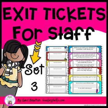 Exit Tickets for Staff - SET 3 Principals/Activity Leaders ...