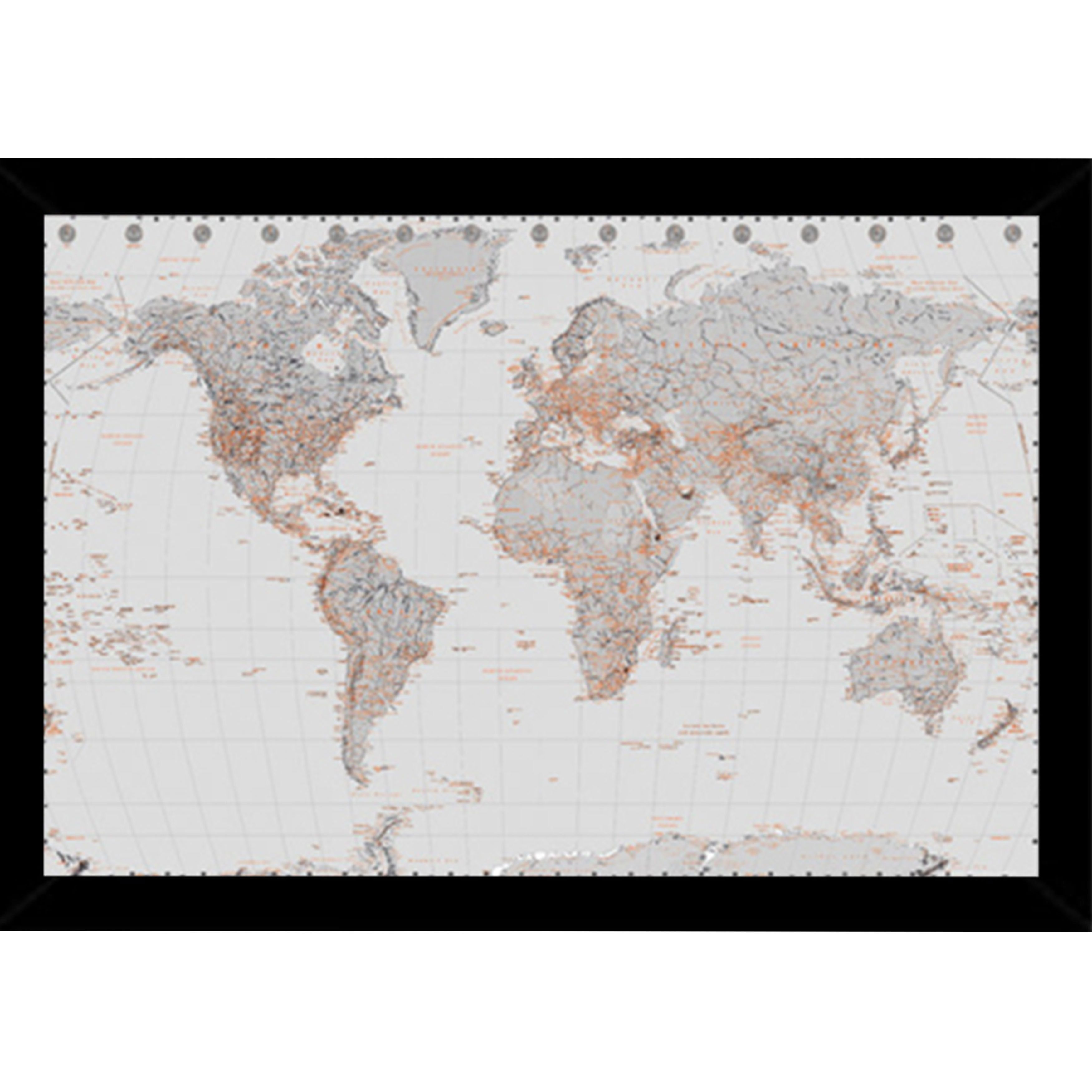 World map silver print 24 inch x 36 inch with contemporary world map silver print 24 inch x 36 inch with contemporary poster gumiabroncs Gallery