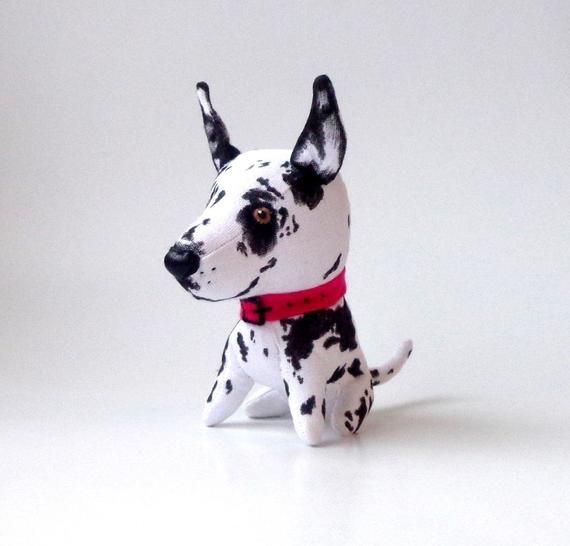 Stuffed Great Dane Harlequin 5 Inch Plush Dog Soft Dog Miniature