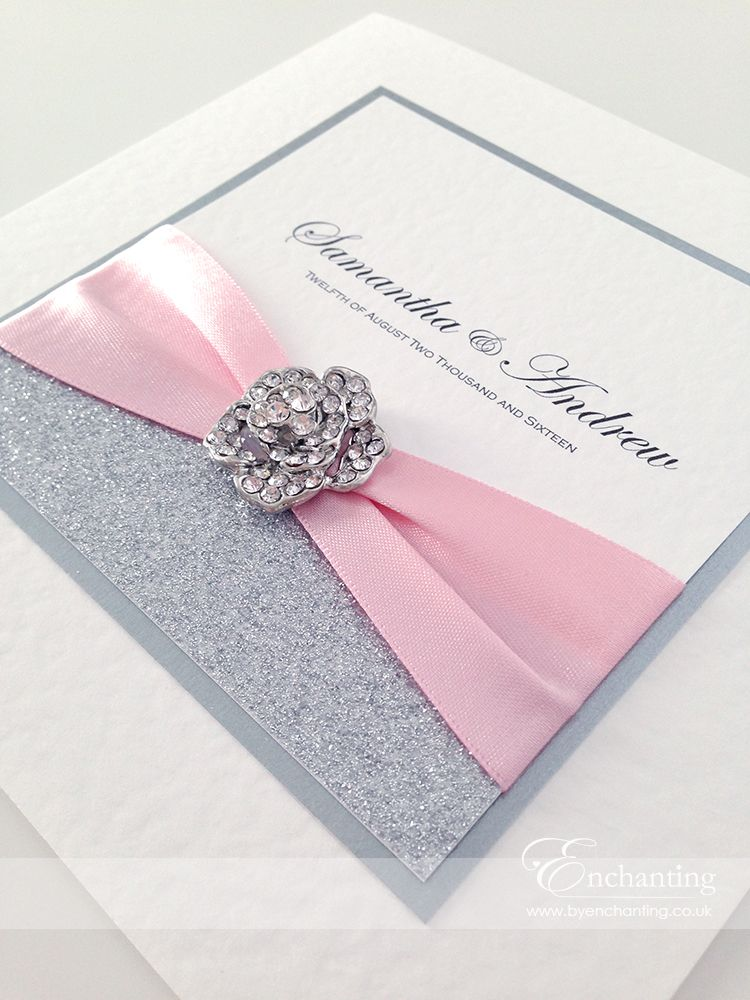Pink Sparkly Wedding Invitations The Cinderella Collection Clic Fold Invitation Featuring Silver Glitter Paper Berisford Ribbon In Shade And