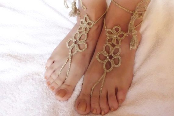 Tatted Barefoot Sandals Beige Beach Shoes Foot by Adorablewares
