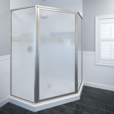 """Basco Deluxe 68.63"""" x 51.25"""" Neo-Angle Shower Door Glass Type: Obscure Glass, Trim Finish: Brushed Nickel"""