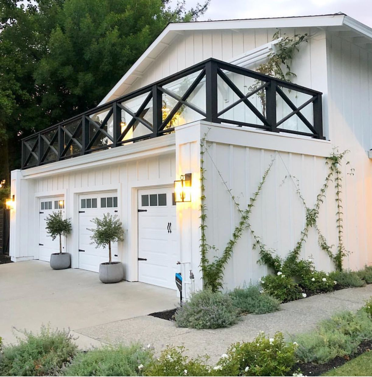 Patio Inspiration: X Vine And Planters In Front Of Garage