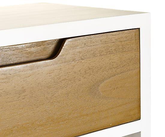 Mesa auxiliar en madera de mindi - natural y blanco Proyecto - mesitas de madera
