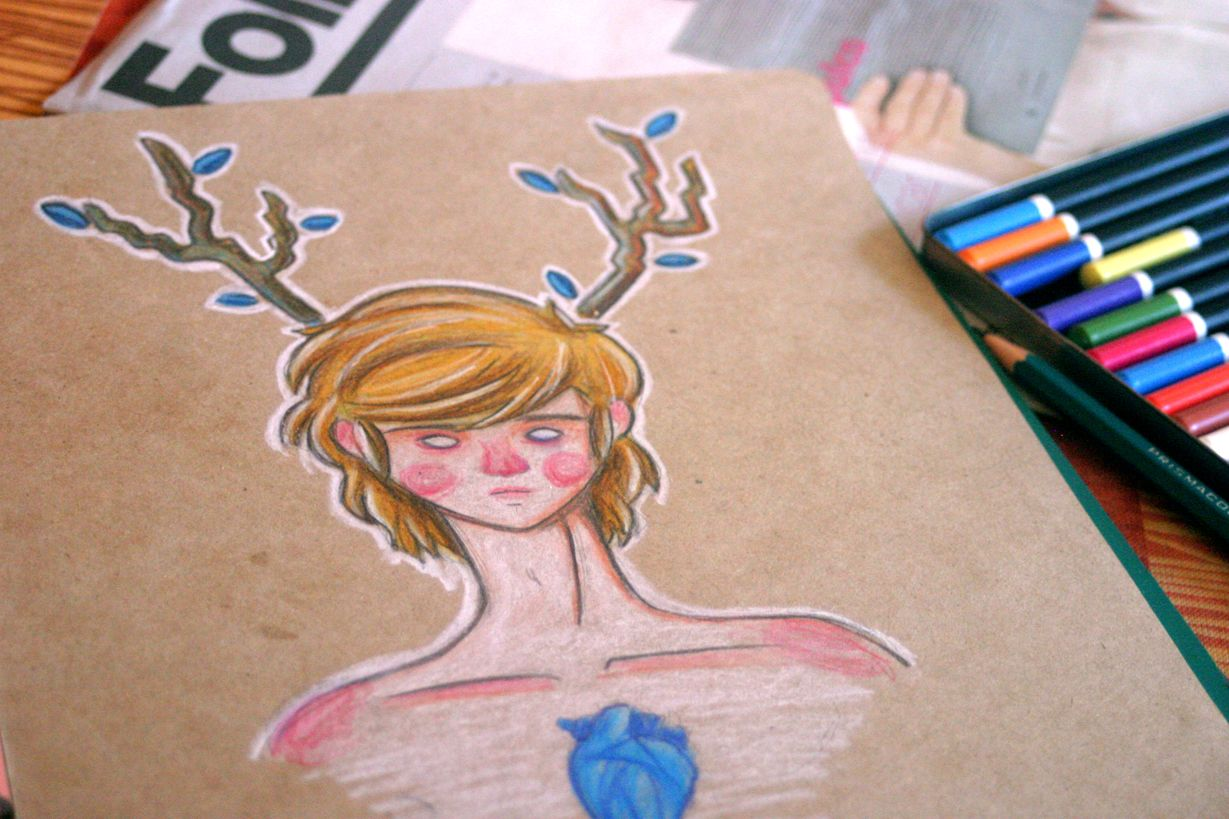 """""""Cocaine"""" ilustración lapices de colores sobre papel craft."""