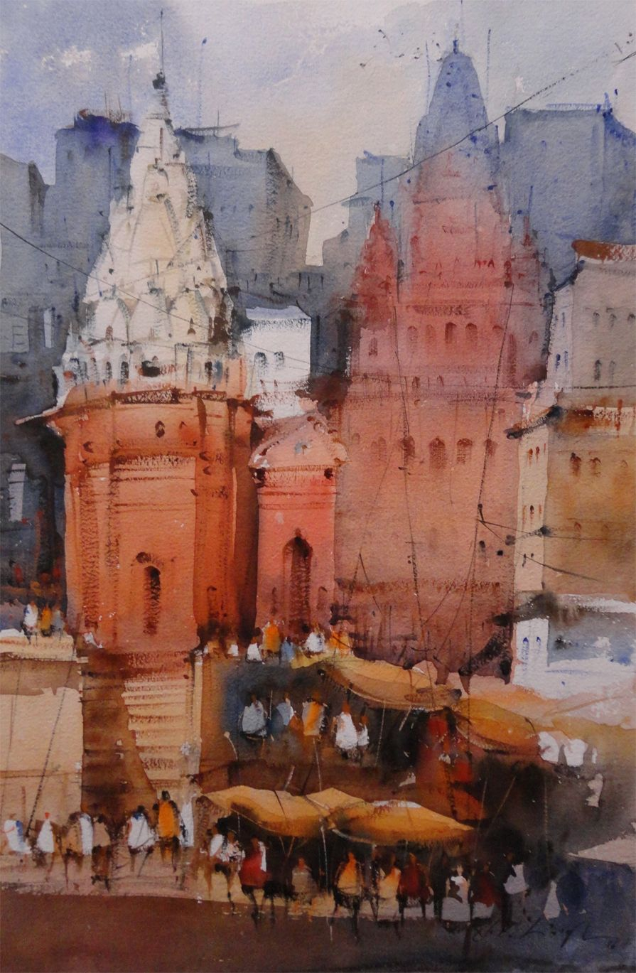 Varanasi Temple Watercolor Watercolor Art Watercolor