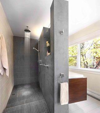 Une salle de bains pur e meuble lavabo douches et lavabo for Douche italienne sans porte