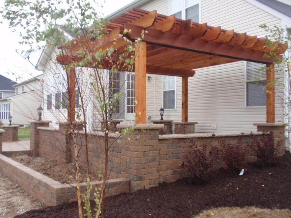 pergola with brick pillars brick paver patio and pergola Brick Pergola Designs id=57218