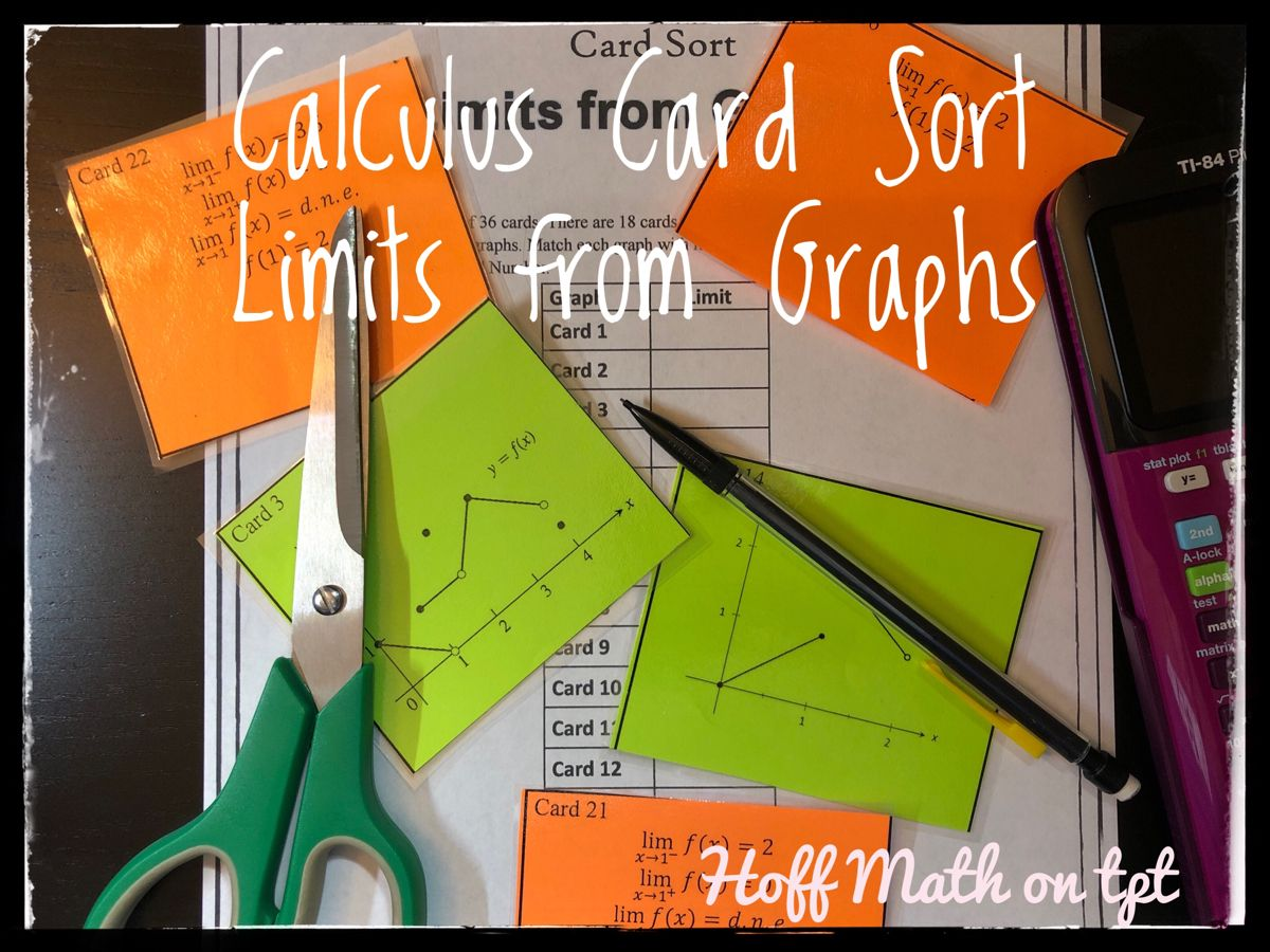 Calculus limits from graphs card sort sorting cards