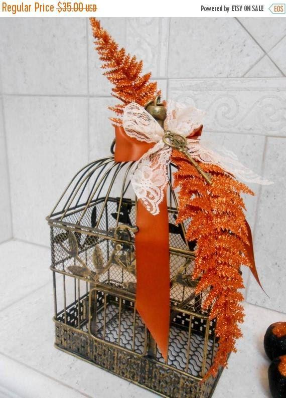 Small Gold Birdcage Fall Wedding Decor Autumn Thanksgiving Centerpiece Home Wishing Well