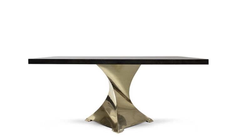 Luxurious Dining Table With Twisted Brass Base And Goatskin Top
