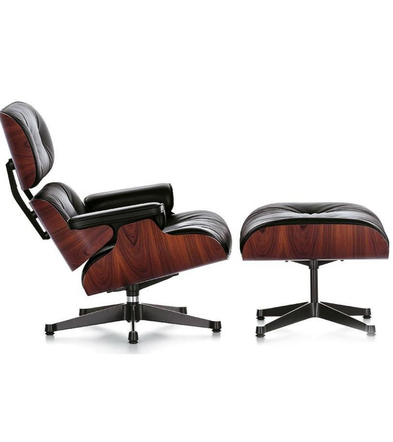 Eames Herman Miller Style Lounge Chair In Black Italian Leather   Onske   1