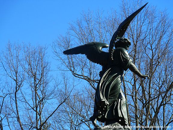 The Angel of the Waters appears to be out for a walk amongst the trees. Discover Bethesda Fountain and more during our guided walking tour [http://walkaboutny.com/the-tours/central-park-walking-tour/] of Central Park.