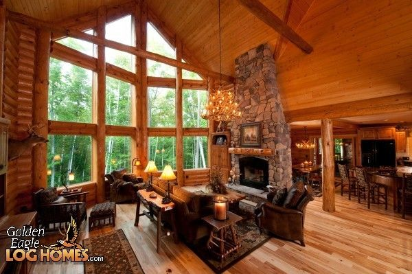 Open concept house plans with free standing fireplace for Log cabin open planimetrie