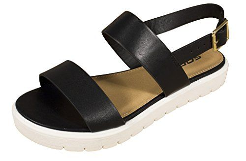 421bf50bf Soda Womens Juniper Open Toe Ankle Slingback Thick Sole Strappy Sandal black  leatherette white sole 9 M US   Check this awesome product by going to the  link ...