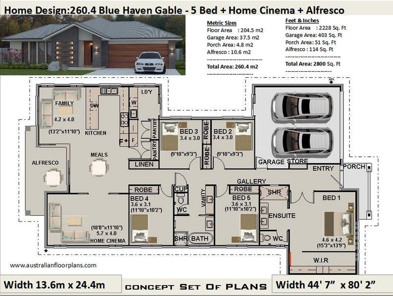 5 Bedroom House Plans 260 4 M2 Or 2800 Sq Feet 5 Bedroom Design Australia 5 Bed Floor Pl House Plans Australia 5 Bedroom House Plans Luxury House Plans