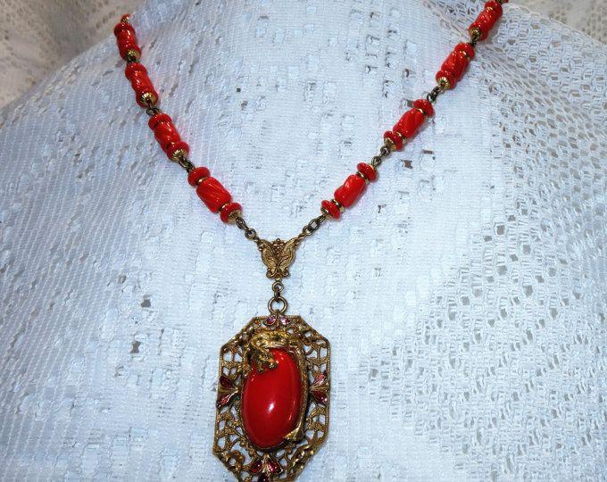 Antique Czech Neiger Brothers Brass Filigree Enamel Dragon Pendant Lipstick Red Glass Lavalier Necklace