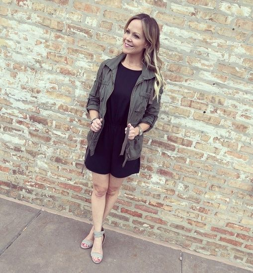 391762ba002 This black romper and utility coat is perfect for spring and the transition  from hot to chilly. Paired with these adorable heals this casual number can  be ...