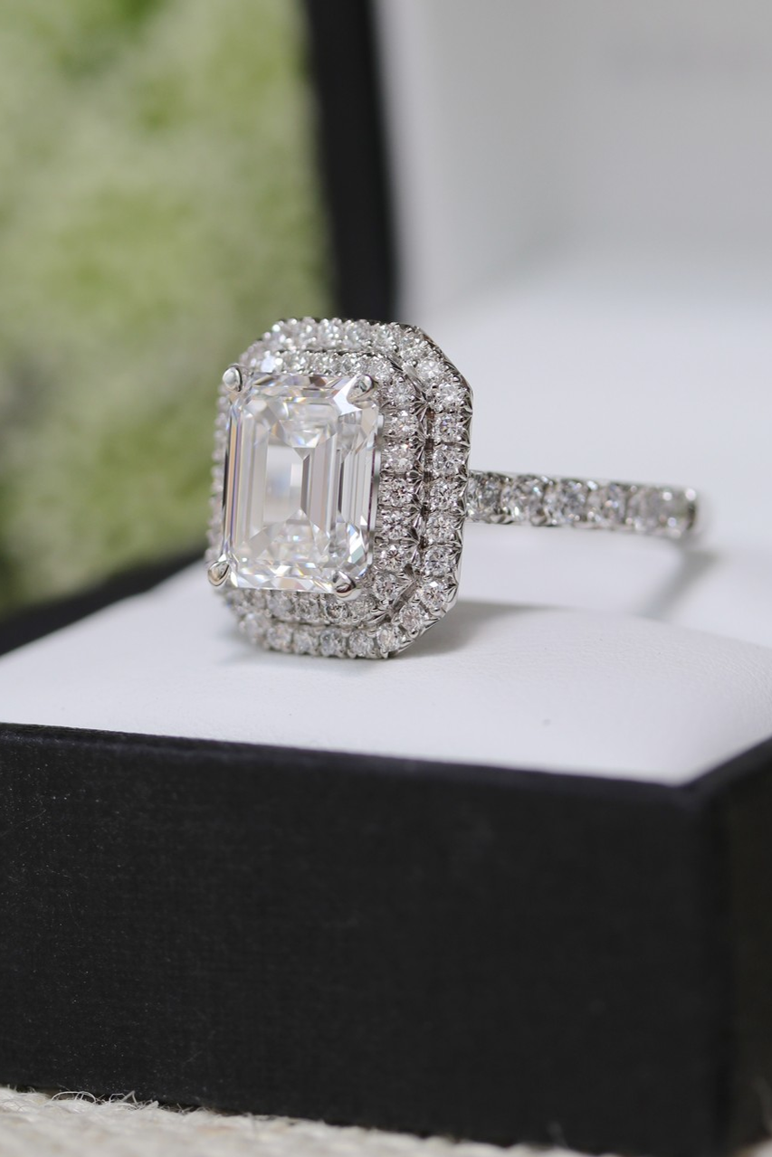 cc31867af0343e Custom double halo emerald cut lab diamond engagement ring . . You  deserve the best, and our Diamond Experts are committed to delivering the  most ...