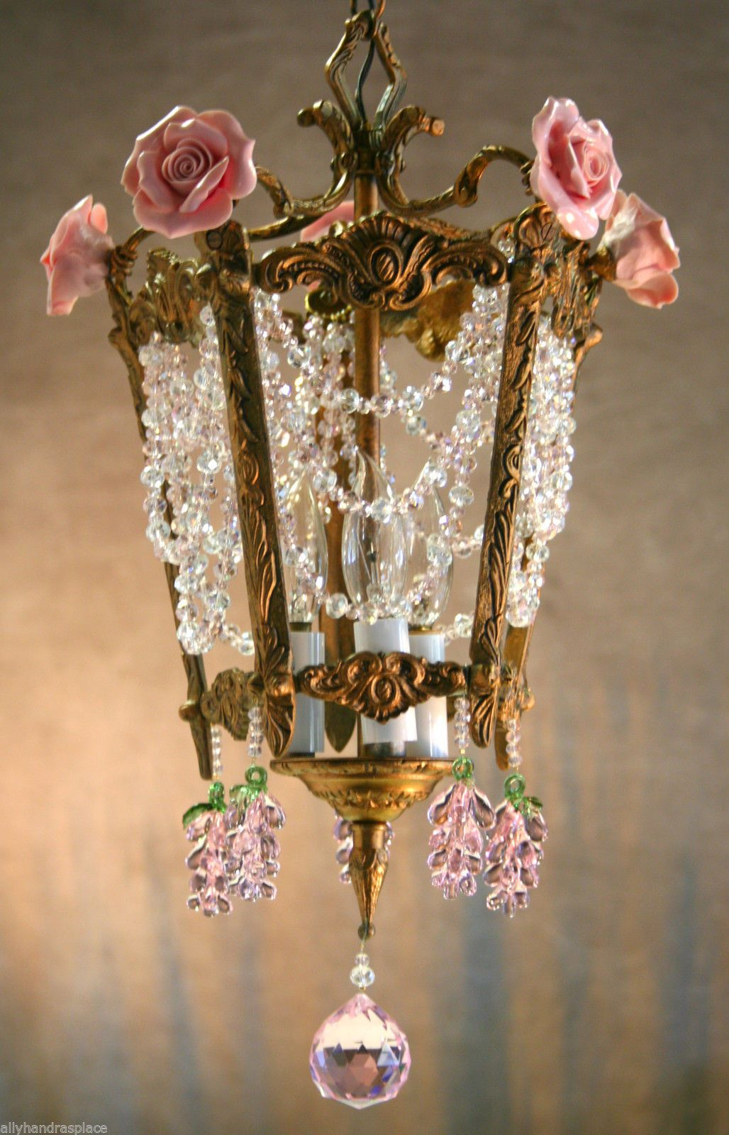 Vintage brass crystal beaded murano glass grape flower hall lantern vintage brass crystal beaded murano glass grape flower hall lantern chandelier ebay arubaitofo Image collections