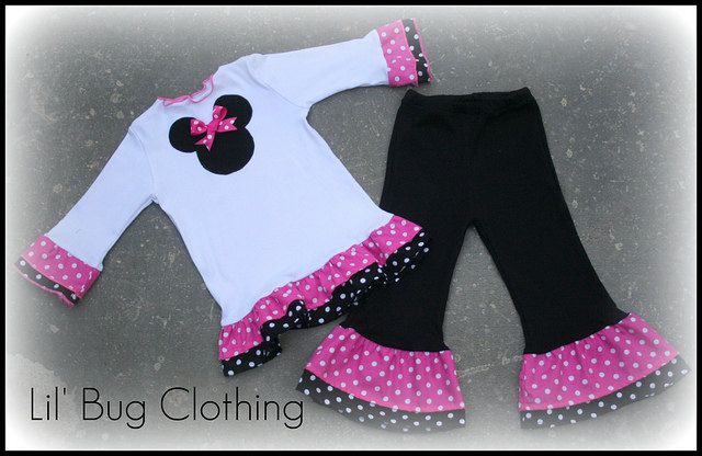 Custom Boutique Clothing Pink White Dot Minnie Mouse Pant and Tee Winter Girl. $45.00, via Etsy.