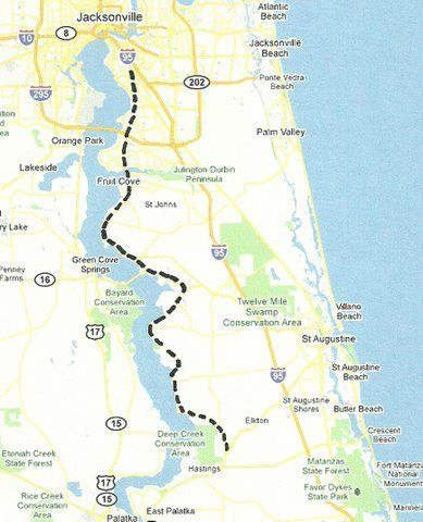 St Johns River Map on