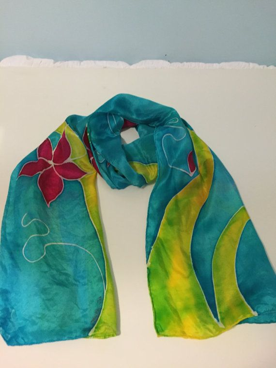 Hand Painted Silk Scarf blue yellow green by SerendipitySilks