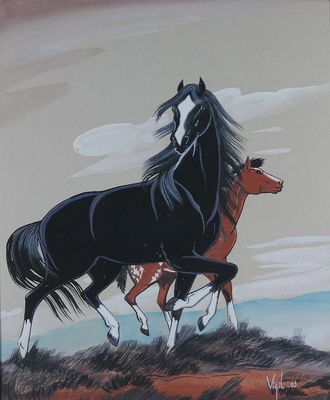 $485 Pair of Proud Horses Unrestrained, Paintings by Frank Vigil