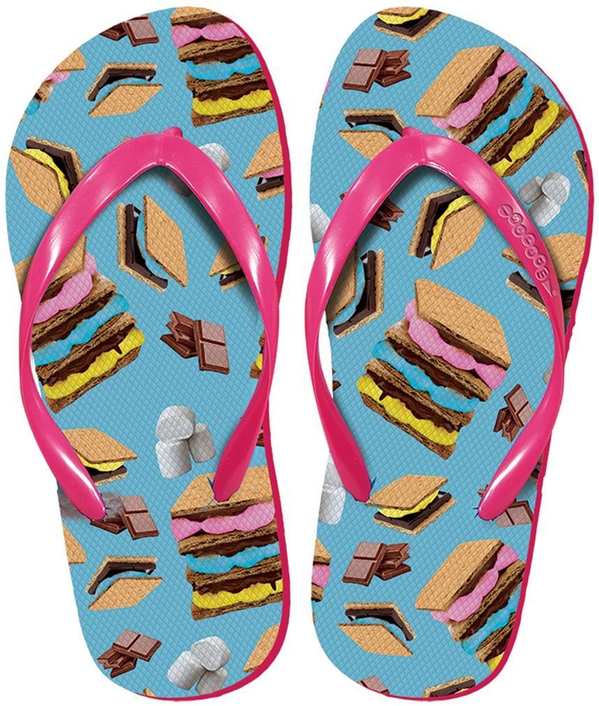 Women's 'FunPrints' Beach and Camp Flip Flops - Pastel S'mores