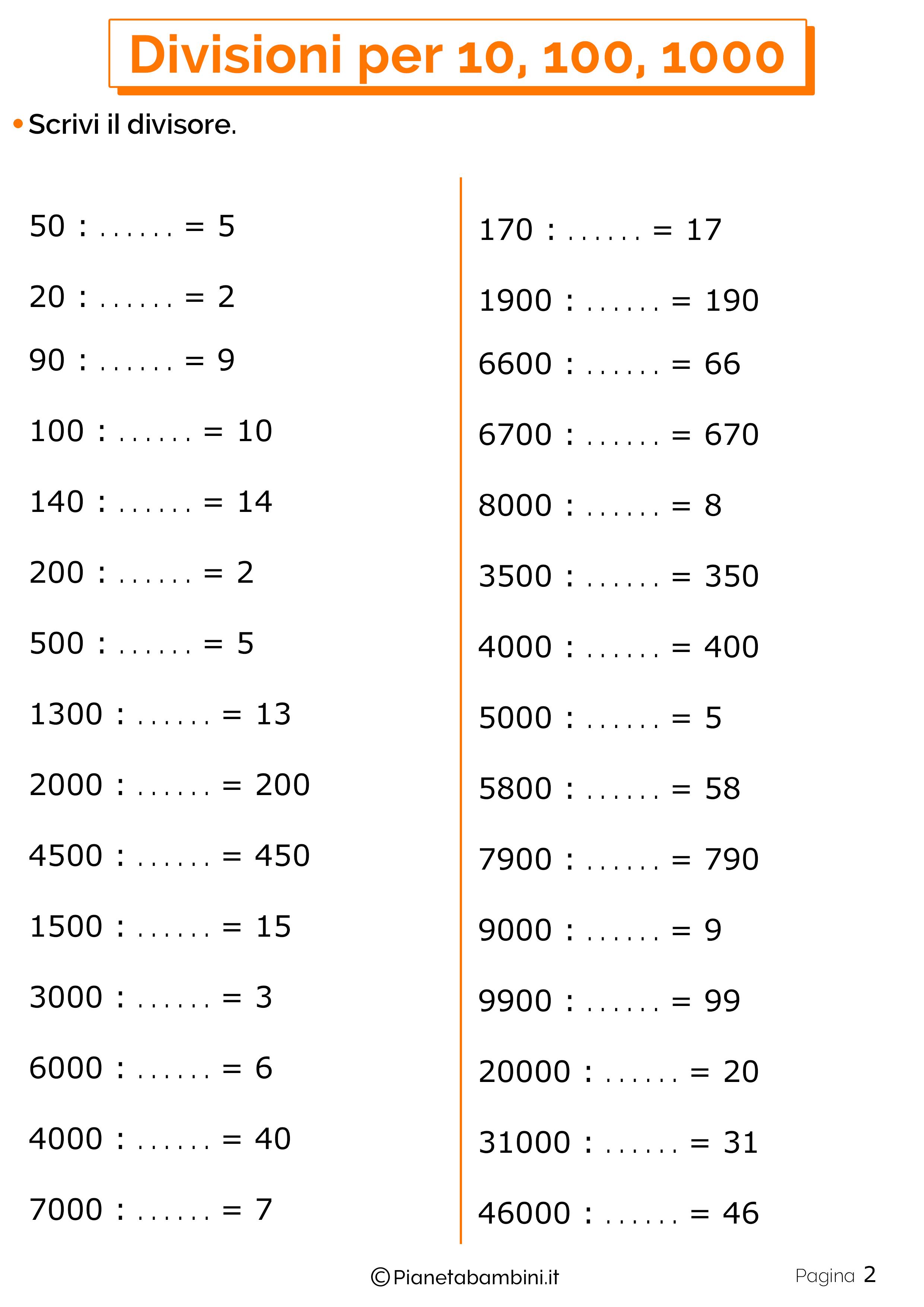 Divisioni Per 10 100 E Esercizi Per La Scuola