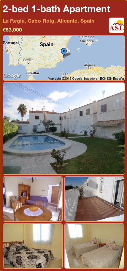 2 Bed 1 Bath Apartment In La Regia Cabo Roig Alicante Spain 63 000 Propertyforsaleinspain