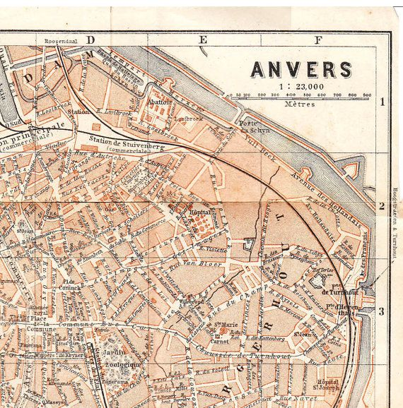 1888 Vintage City Map Antwerp Belgium Antwerp belgium City maps